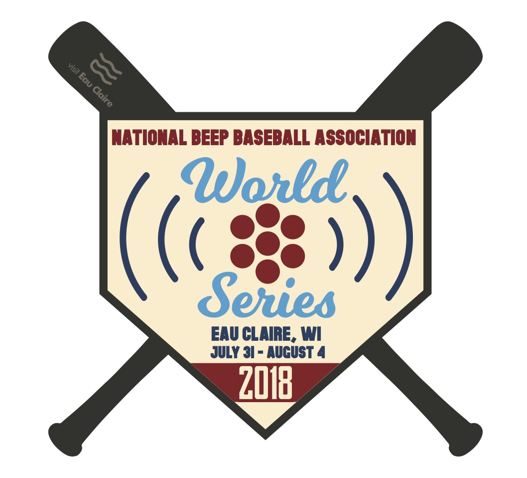 Logo for the 2018 National Beep Baseball Association's World Series in Eau Claire, Wisconsin.