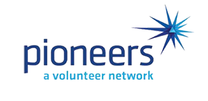 "A logo reads ""Pioneers"" in large letters with smaller letters which read ""A volunteer network."""